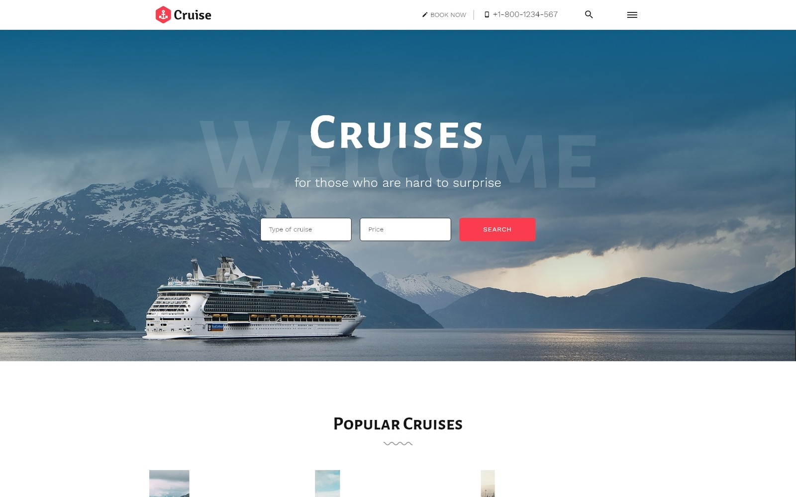 Cruise - Beautiful Cruise Company HTML-websitesjabloon met meerdere pagina's