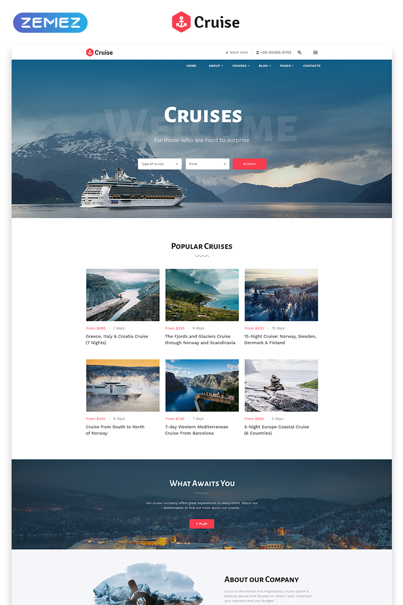 """Cruise - Beautiful Cruise Company Multipage HTML"" Responsive Website template №64431"