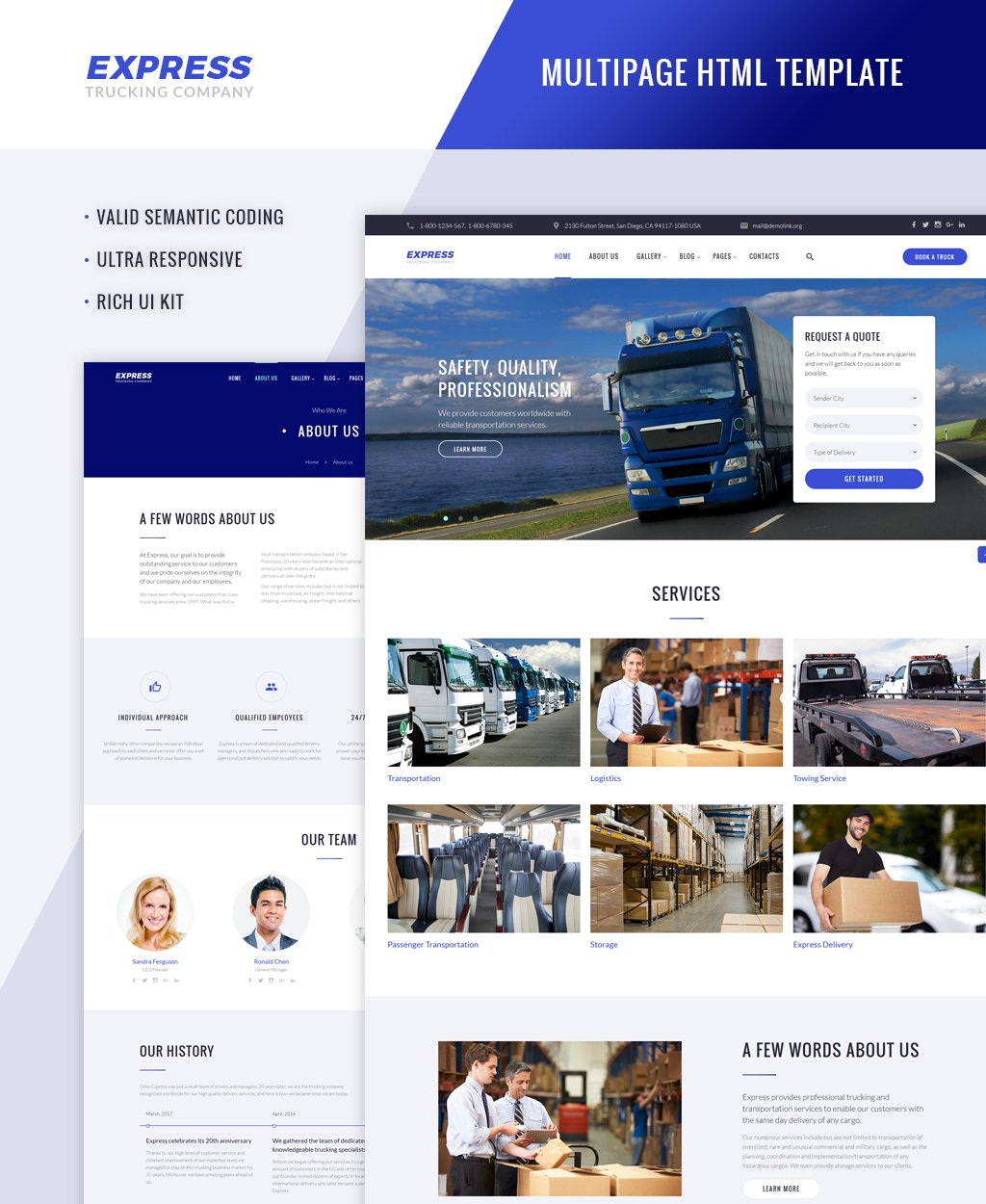 """Express - Logistics And Transportation Multipage"" - адаптивний Шаблон сайту №64426"