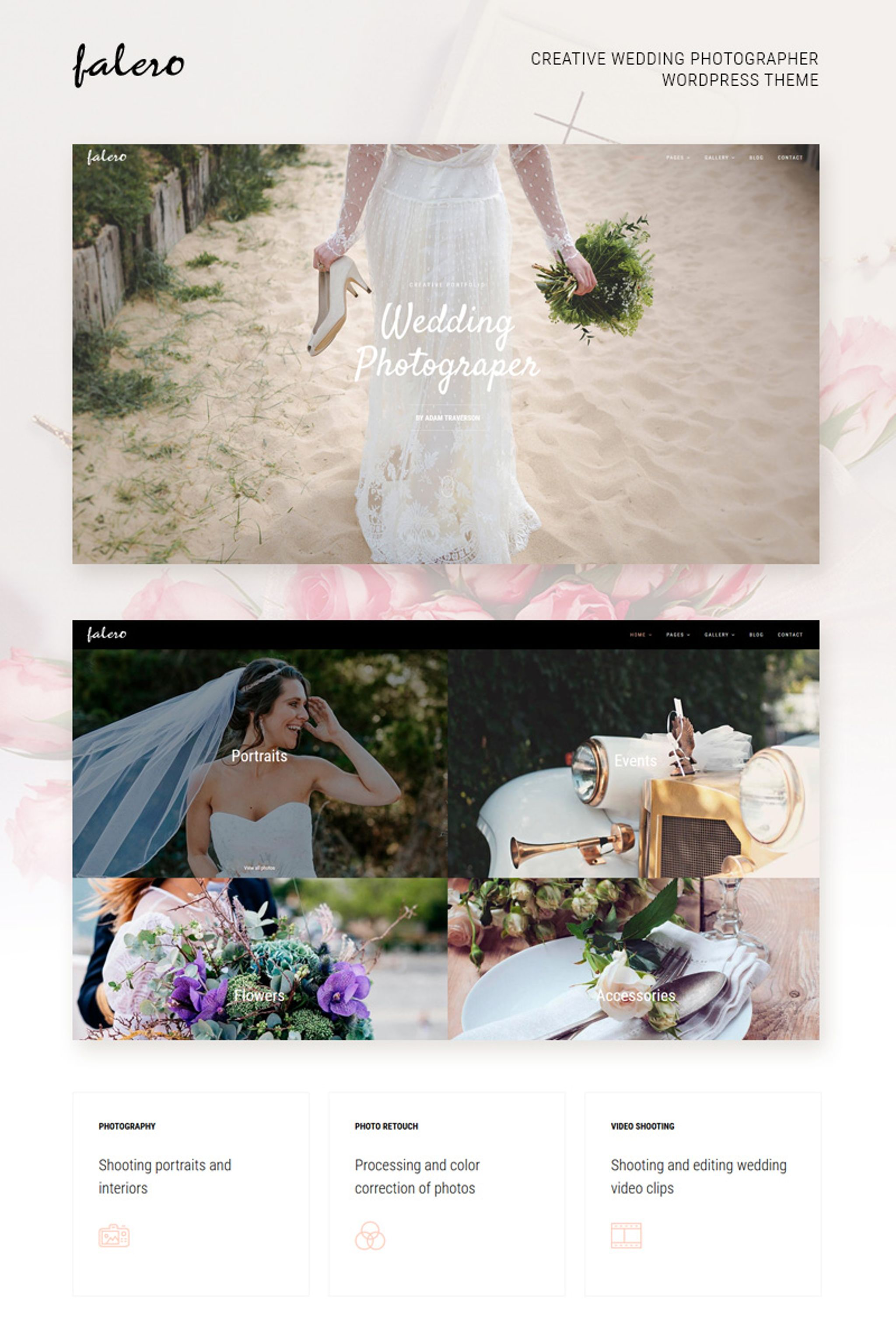 """Falero Wedding Photographer"" Responsive WordPress thema №64448"