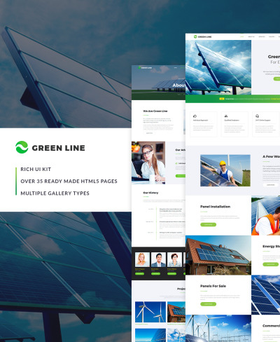 """Green Line - Environmental Multipage"" Responsive Website template #64427"