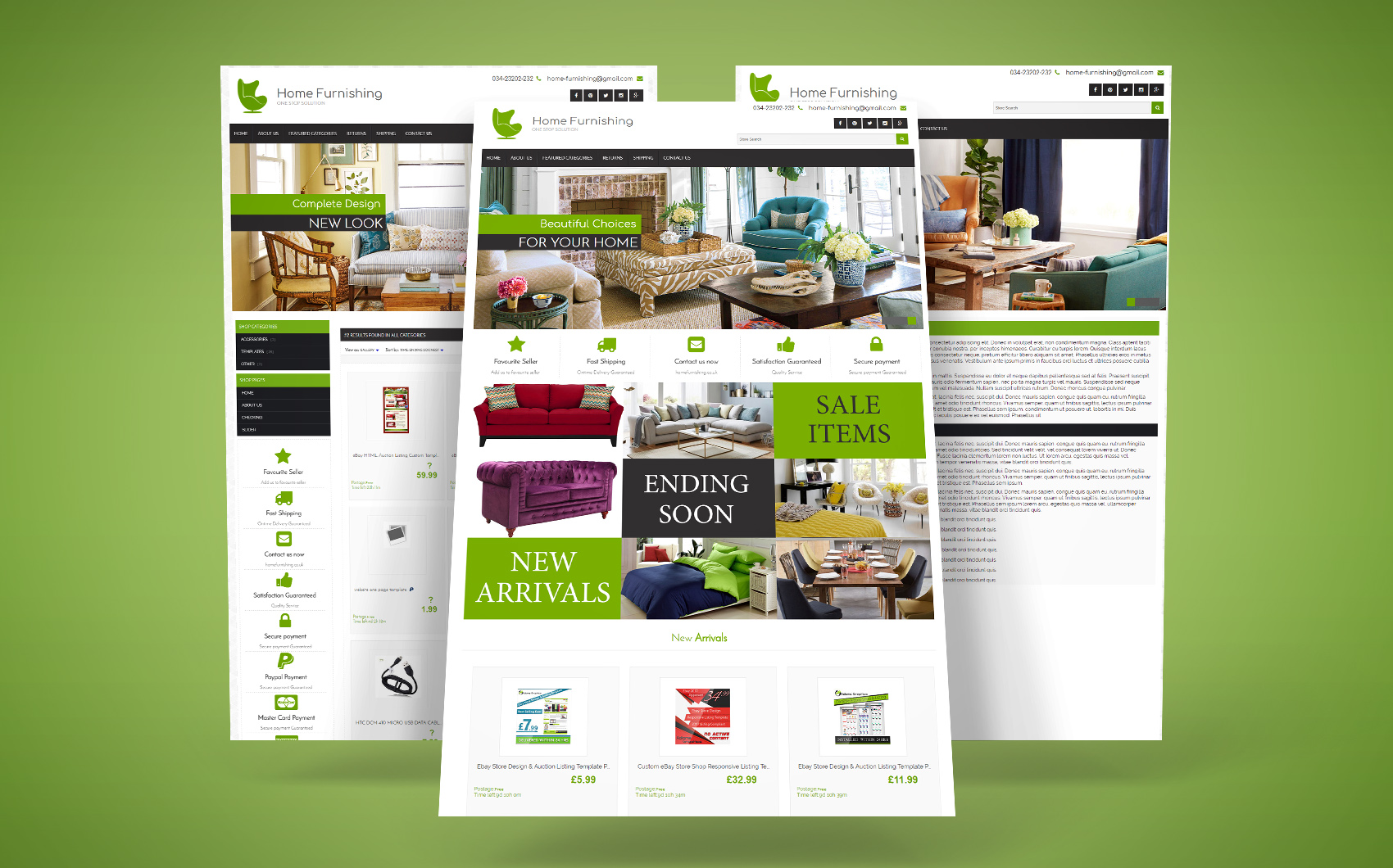 Home Furnishing EBay Template - screenshot