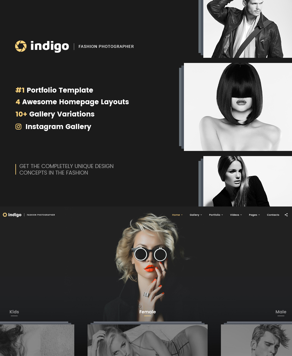 """Indigo - Fashion Photographer Responsive Multipage"" modèle web adaptatif #64403"