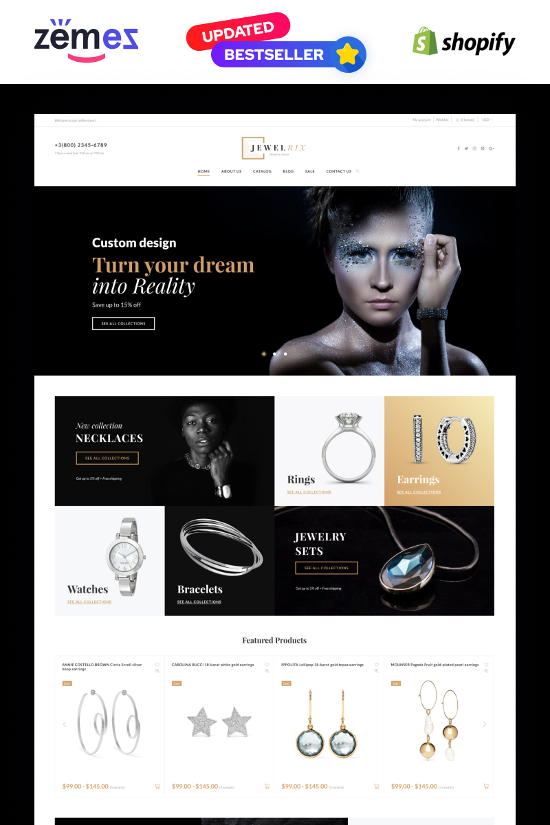 """""""Jewelrix - Jewelry Responsive Online Shop Template"""" 响应式Shopify模板 #64465"""