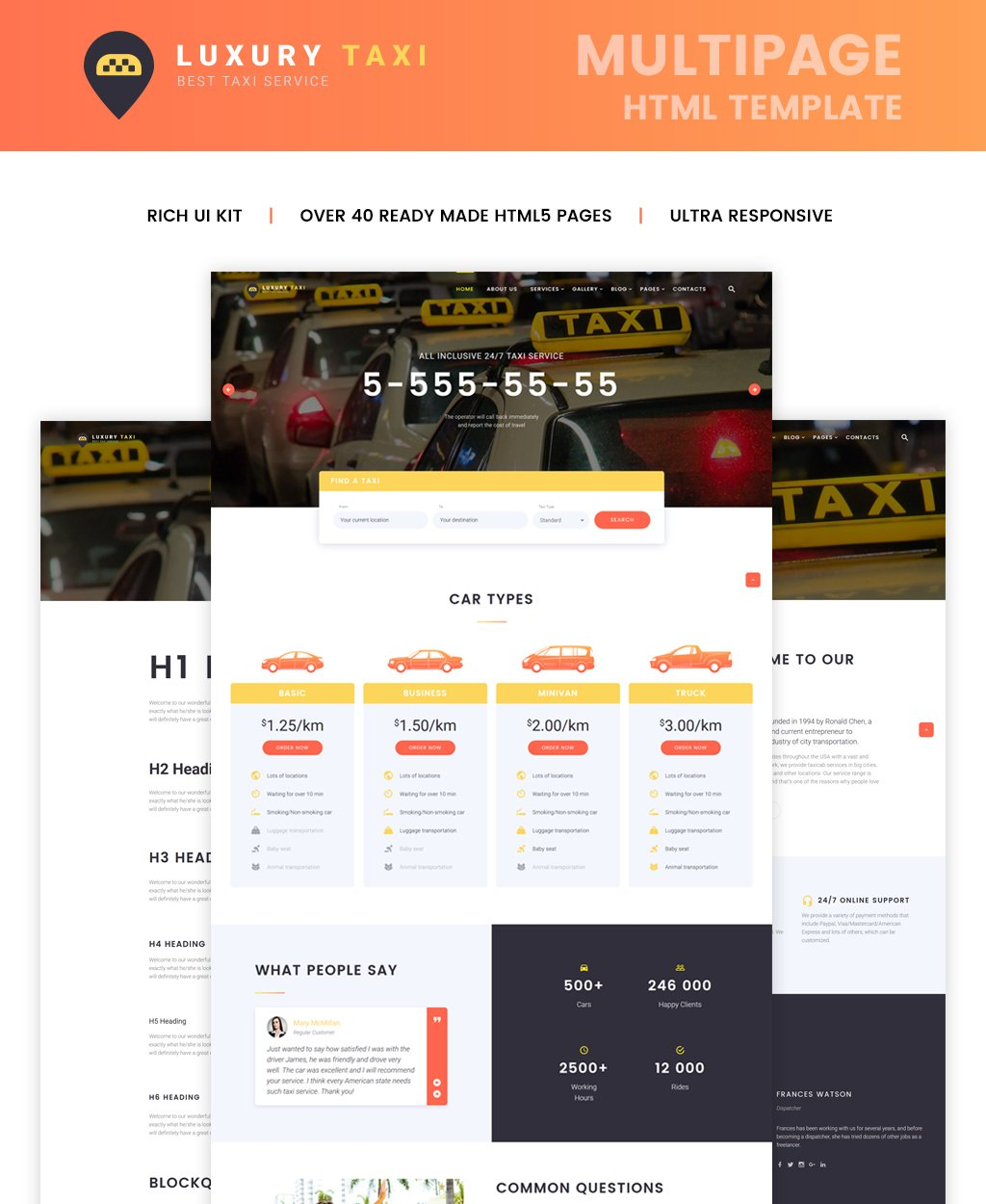 """Luxury Taxi Multipage"" Responsive Website template №64430"