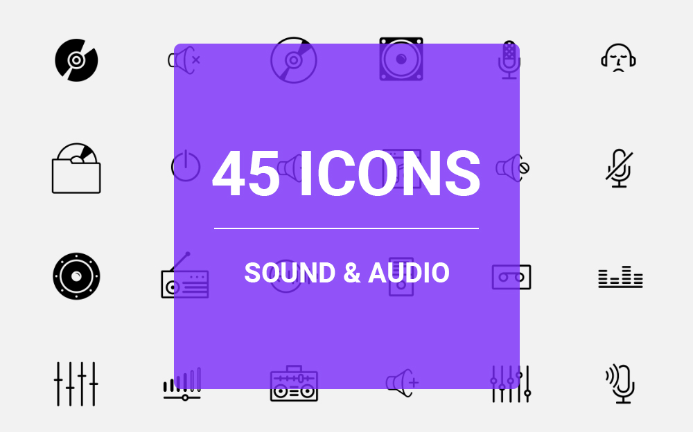 """Plantilla De Conjunto De Iconos """"Sound & Audio Icon Set"""" #64459"""