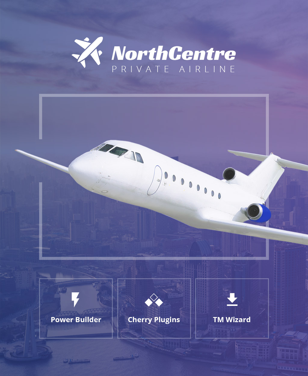 Responsywny motyw WordPress North Centre - Private Airline WordPress Theme #64469