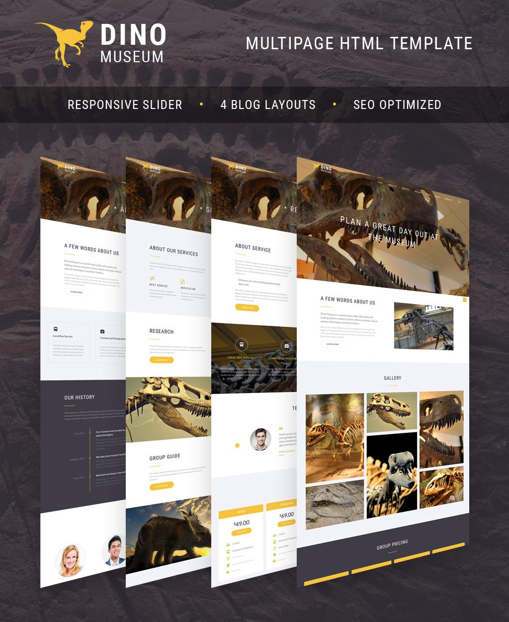 Responsywny szablon strony www Dino Museum #64432
