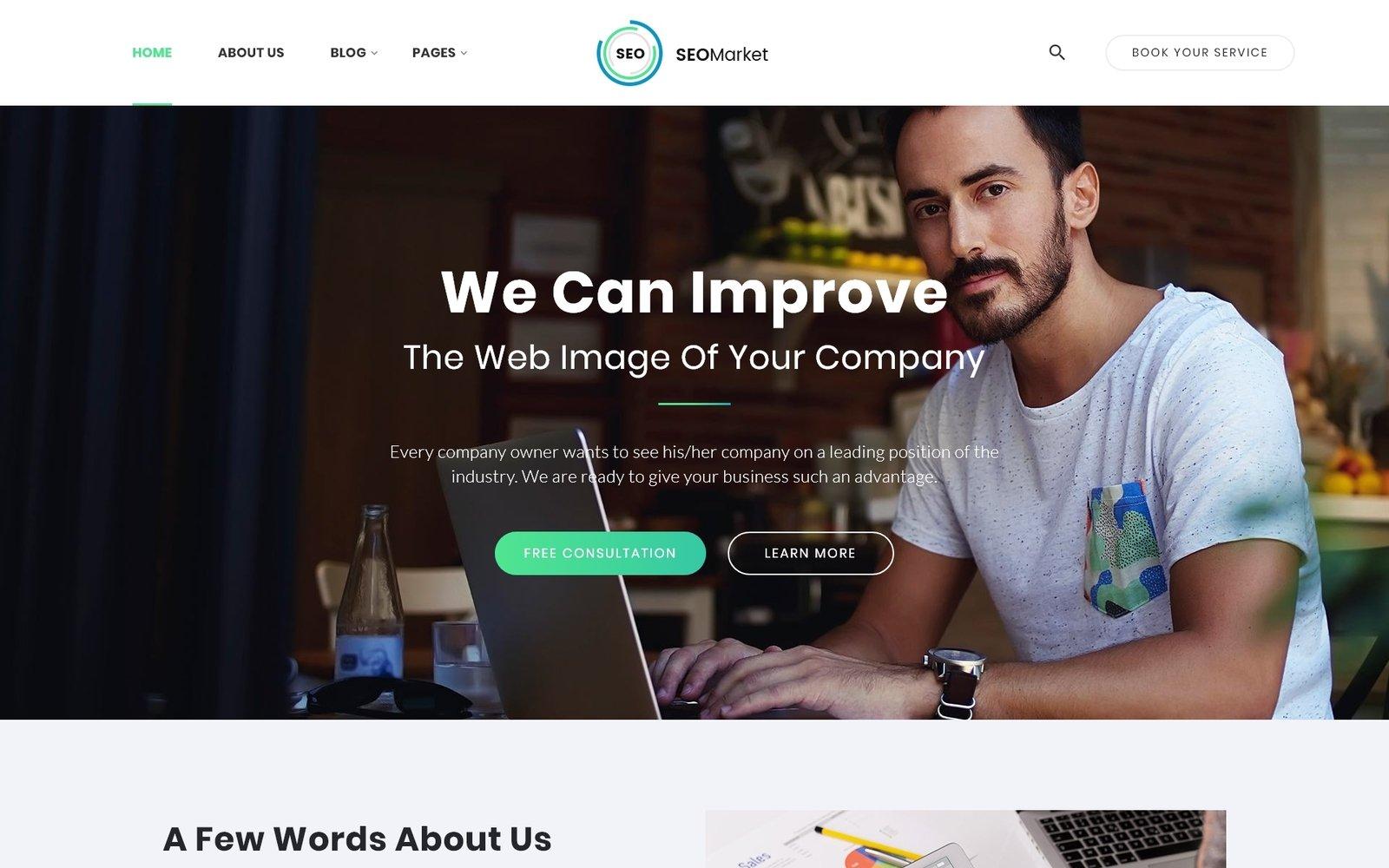 """SEOMarket - SEO & Marketing Agency"" Responsive Website template №64428 - screenshot"