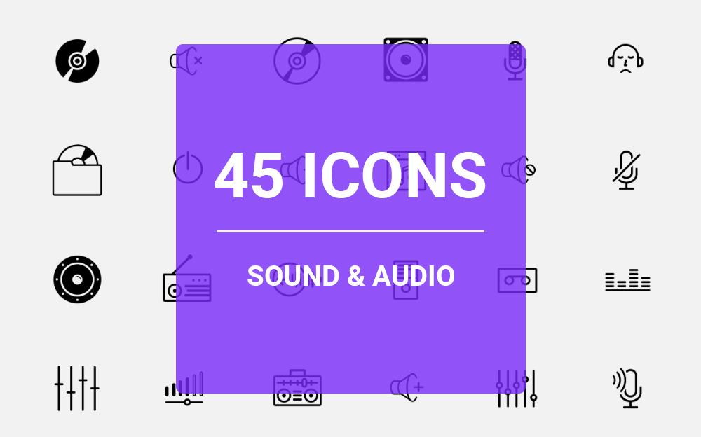 Sound & Audio Icon Set Ikon csomag sablon 64459