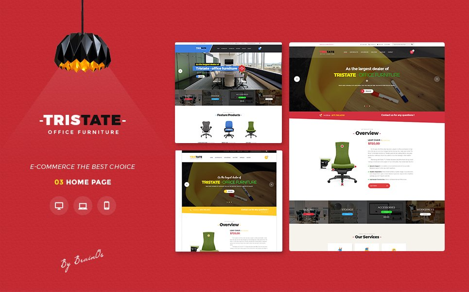 "Template Magento #64450 ""Tristate - Office Furniture Responsive Magento 2 Theme"" - screenshot"