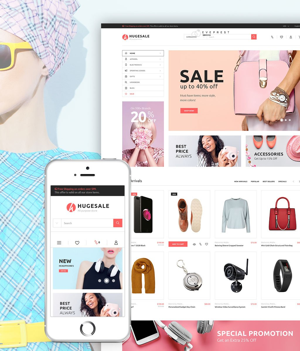 "Template PrestaShop Responsive #64477 ""Hugesale - All Purpose Store"""
