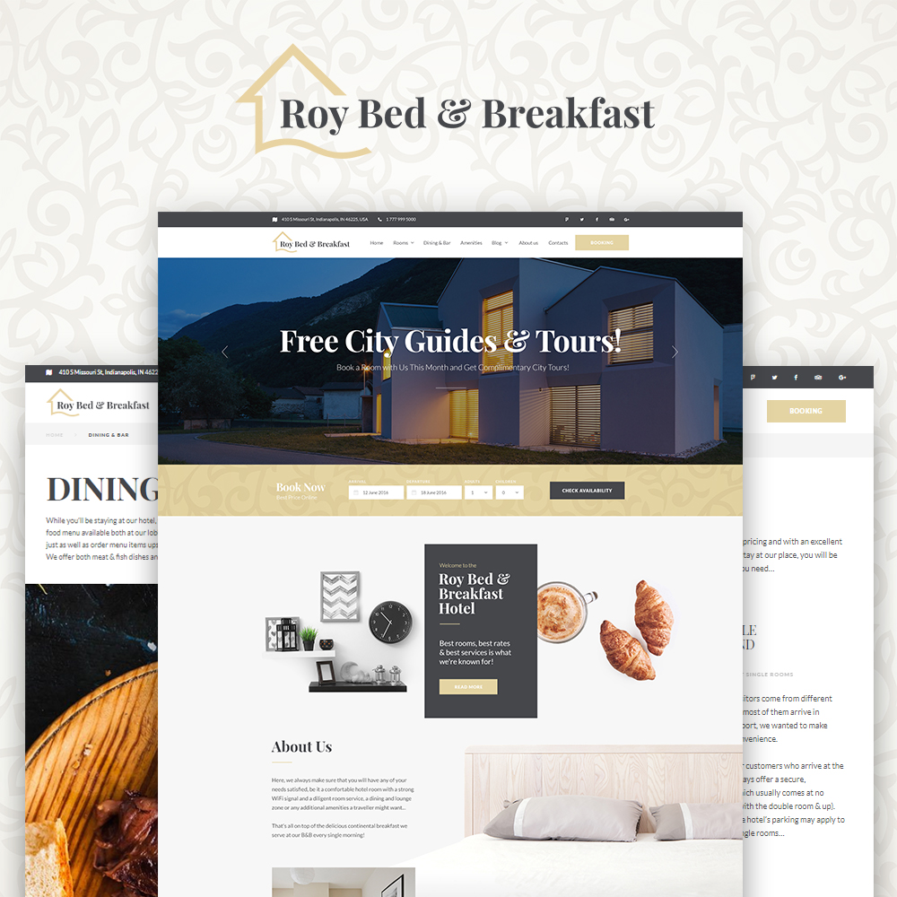 "Template WordPress Responsive #64468 ""Roy Bed & Breakfast - Small Hotel"""