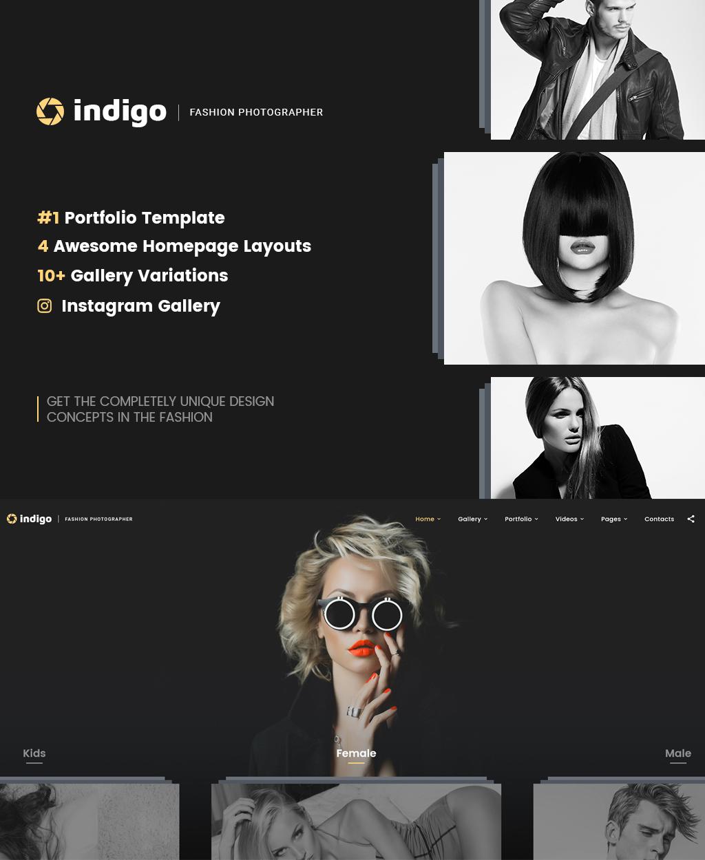 "Website Vorlage namens ""Indigo - Fashion Photographer Responsive Multipage"" #64403"