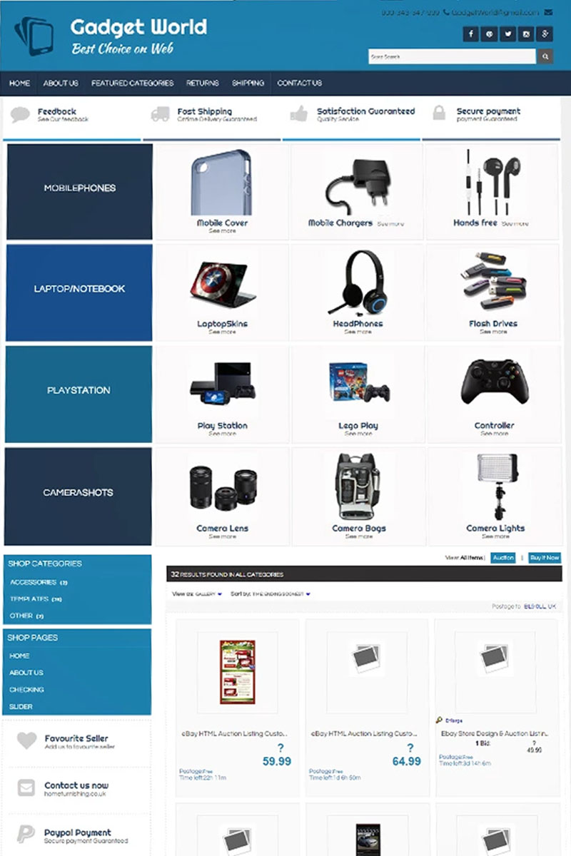 XD - Gadgets World Template de eBay №64440 - captura de tela