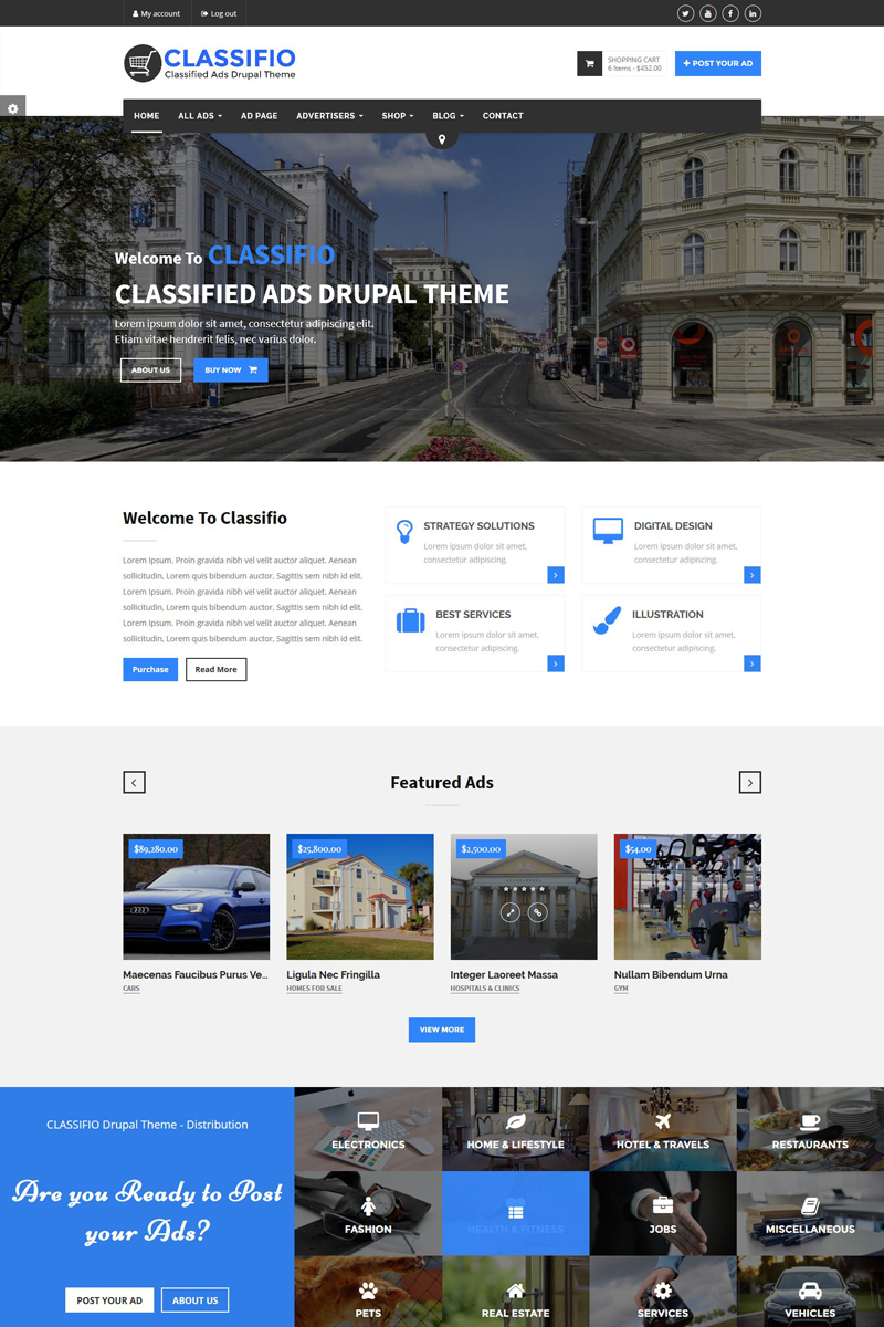 Website Design Template 64546 - classifieds responsive drupal google maps corporate business companies advertising
