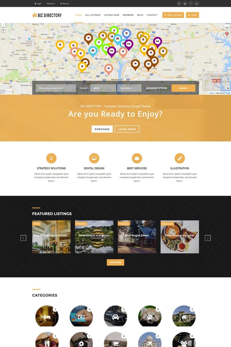 Website Design Template 64560 - classifieds ads responsive drupal google maps corporate business companies advertising