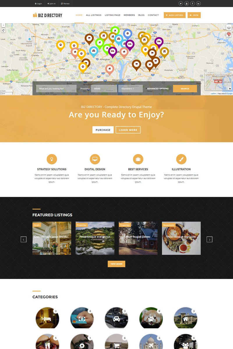 Website Design Template 64560 - listings classifieds ads responsive drupal google maps corporate business companies advertising