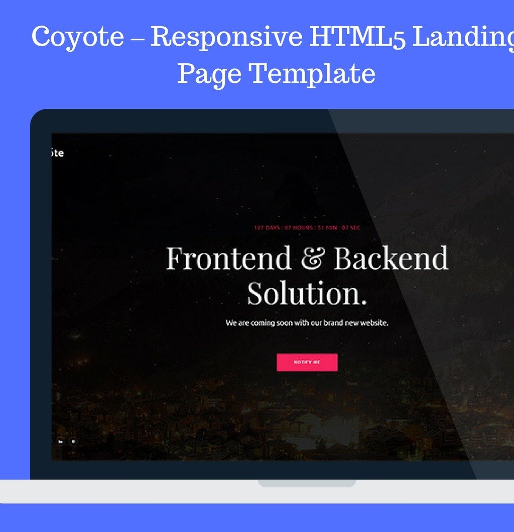 coyote responsive html5 landing page coming soon. Black Bedroom Furniture Sets. Home Design Ideas