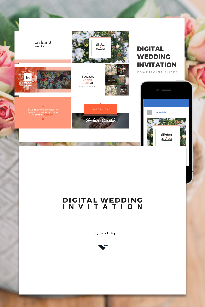Digital Wedding Invitation, Wedding Invitation, wedding gift PowerPoint Template - screenshot