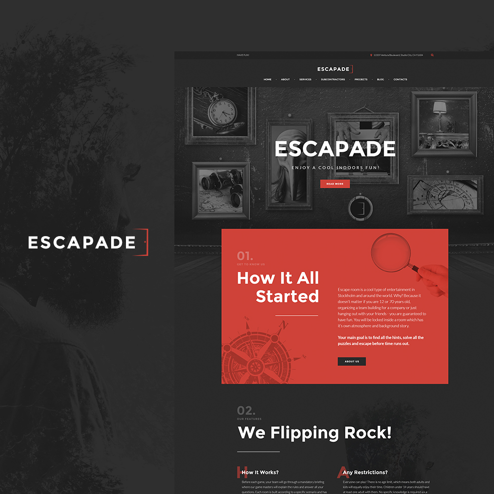 """Escapade - Escape Room Responsive"" - адаптивний WordPress шаблон №64522"