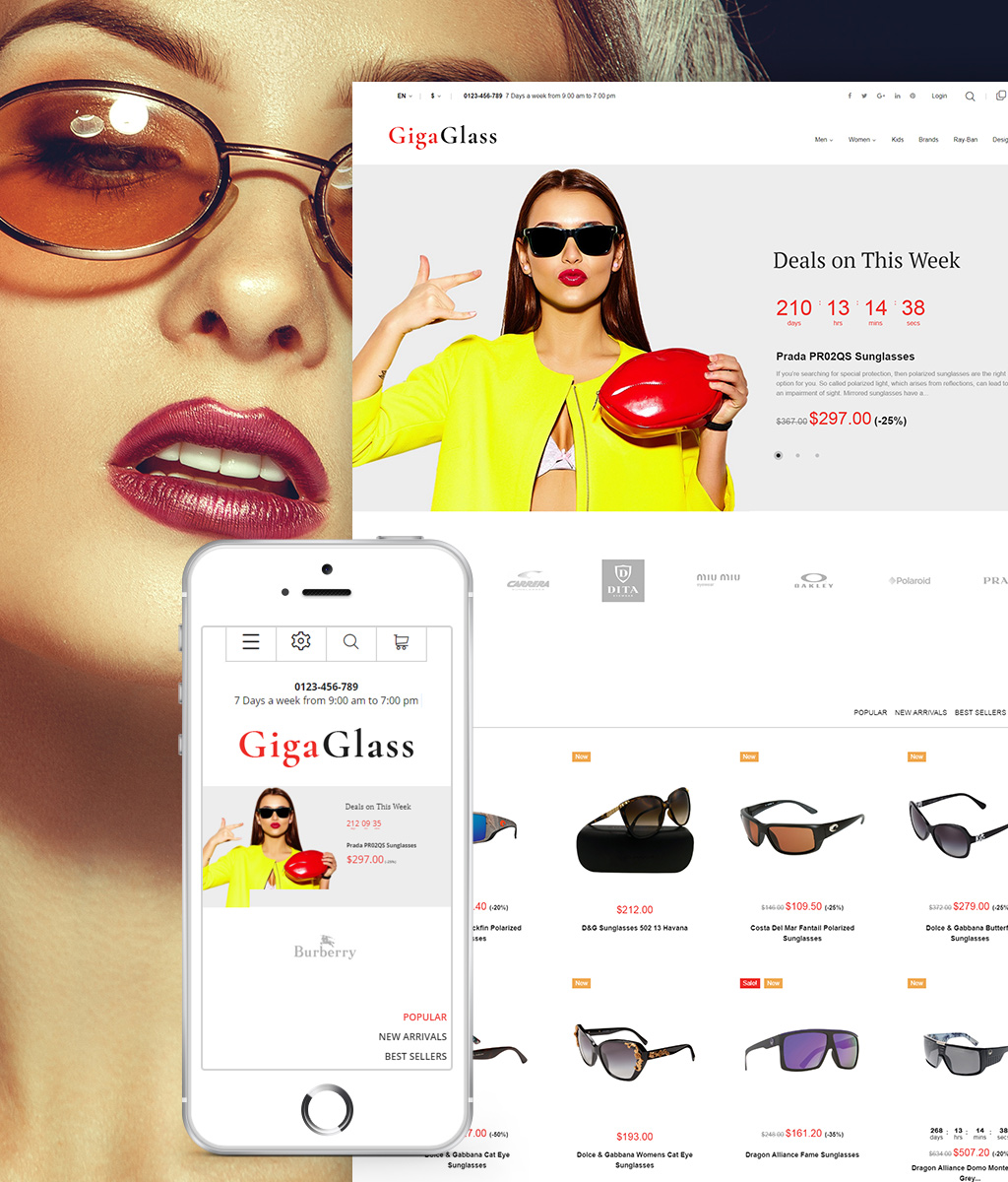 """GigaGlass"" thème PrestaShop adaptatif #64594 - screenshot"