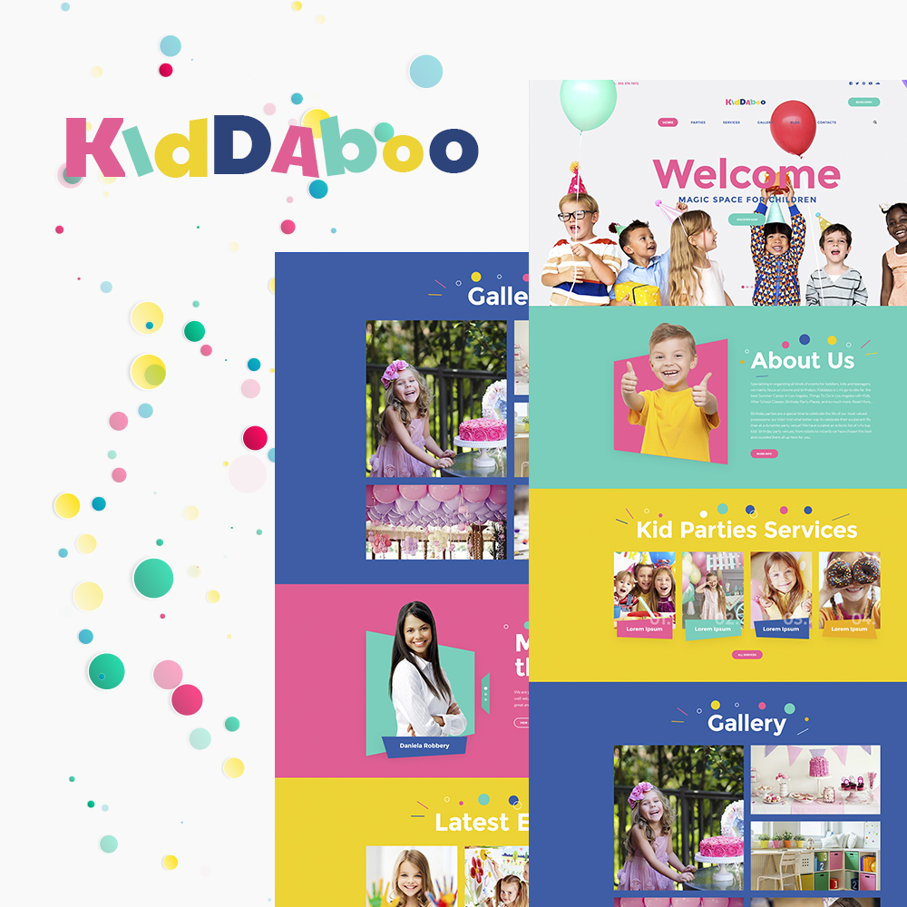 """Kiddaboo - Kid Parties Services Responsive WordPress Theme"" - адаптивний WordPress шаблон №64547"