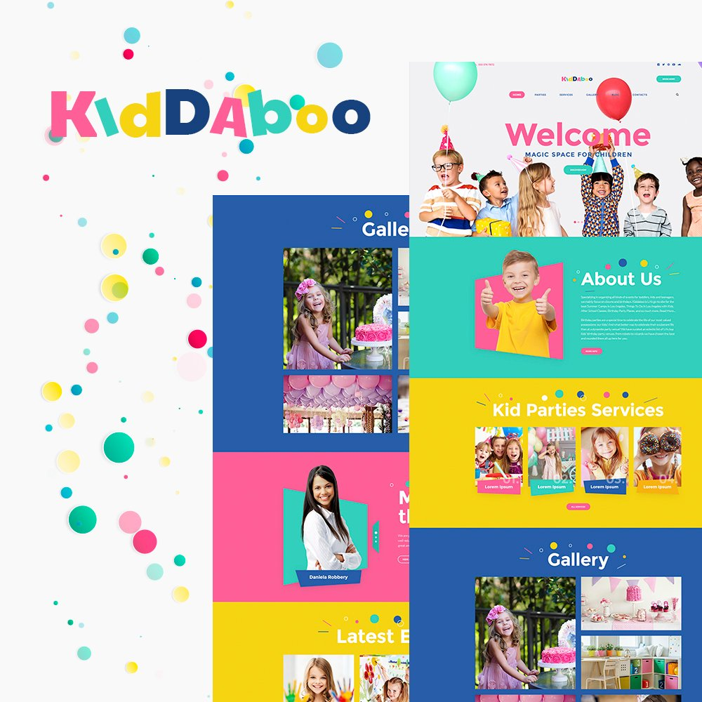 """Kiddaboo - Kid Parties Services Responsive WordPress Theme"" Responsive WordPress thema №64547 - screenshot"