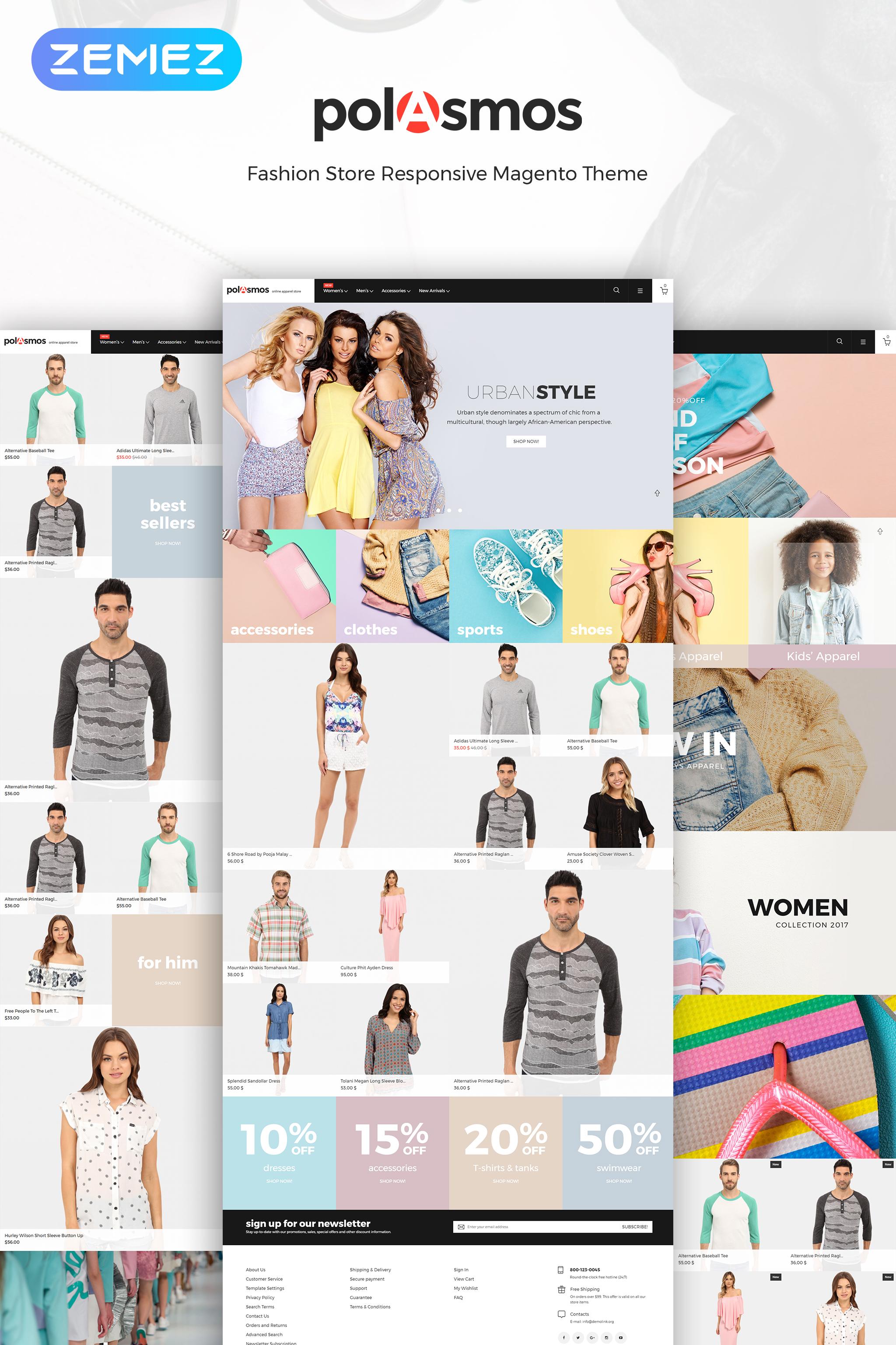 """Magento Theme namens """"Polasmos - Fashion Store"""" #64596"""