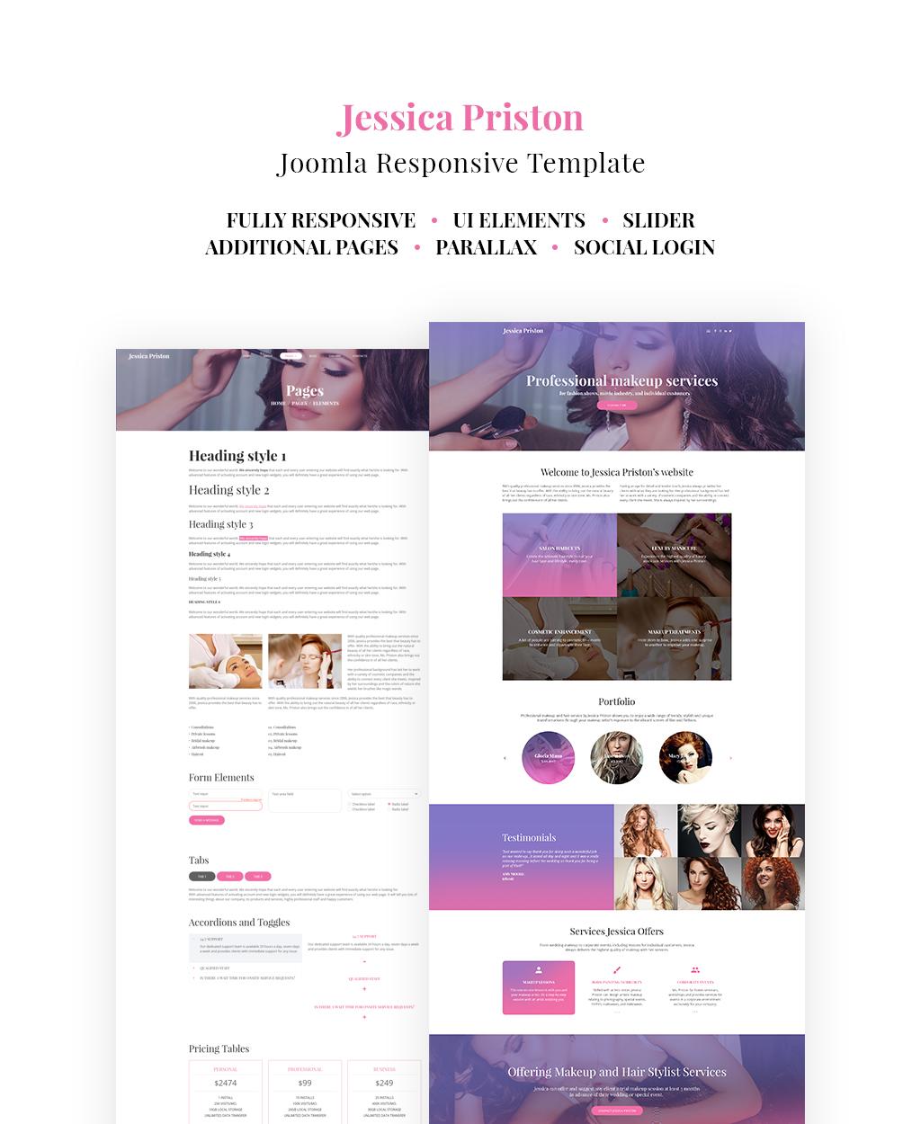 makeup artist responsive joomla template 64554