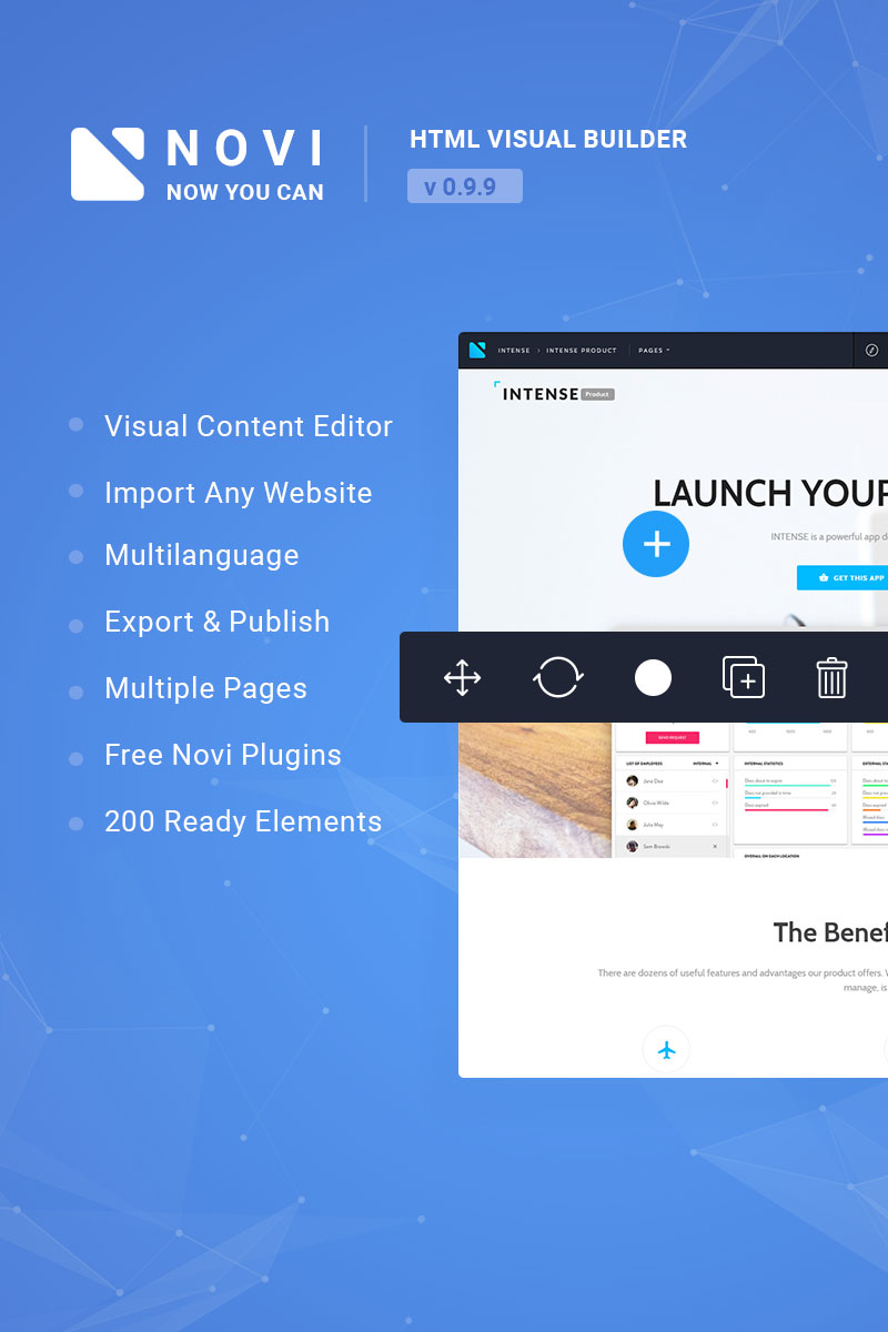 Novi - Visual HTML Page Builder & Content Editor JavaScript - screenshot