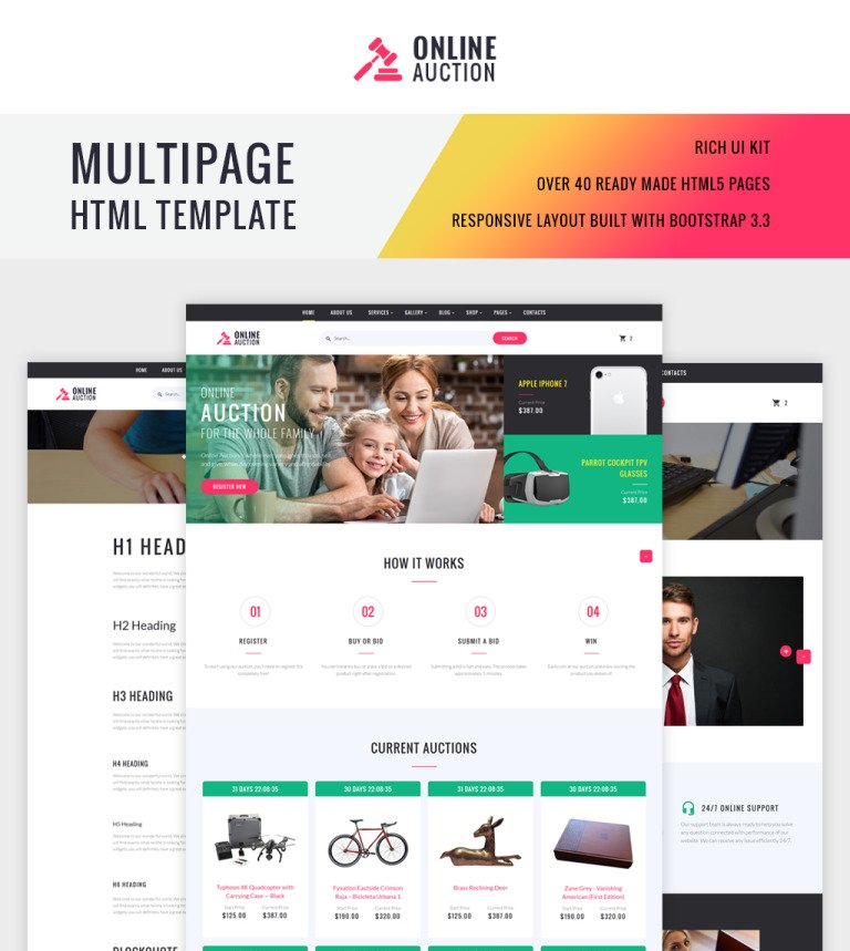 Online Auction HTML Template - Html site template