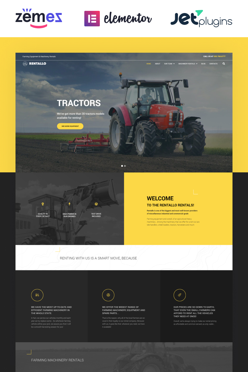 """Rentallo - Farming Equipment & Machinery Rentals"" - адаптивний WordPress шаблон №64595"