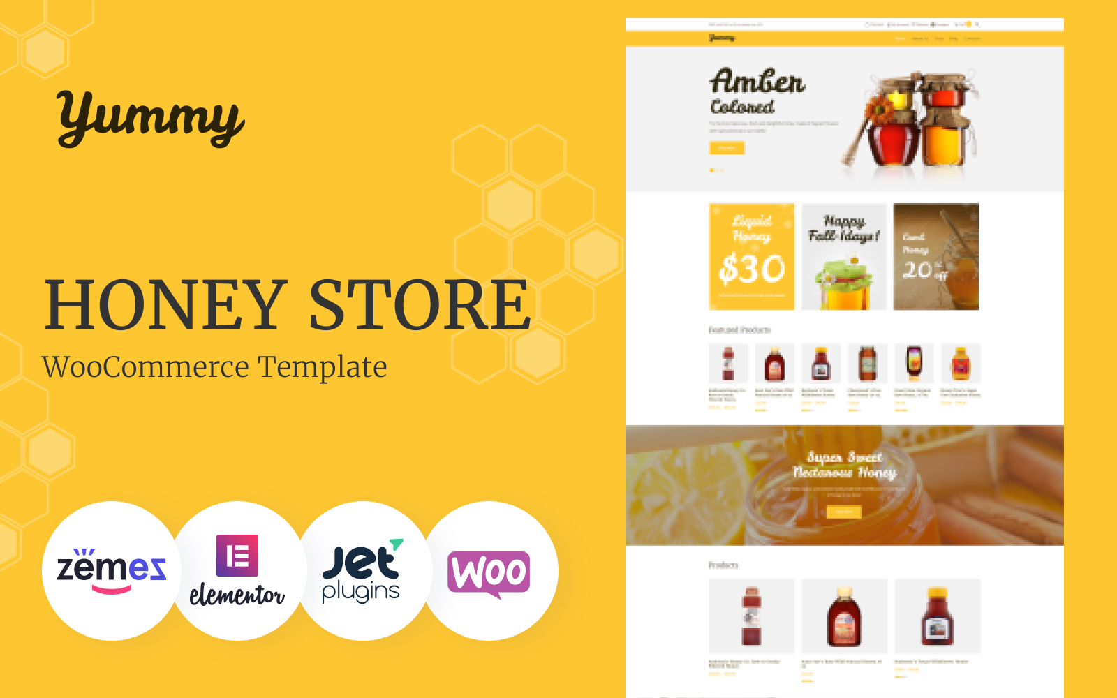 Responsywny motyw WooCommerce Yummy - Honey Store #64503