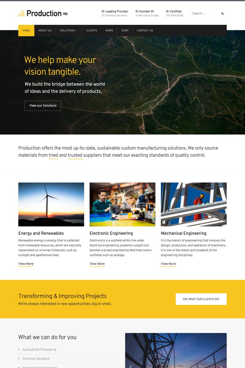 """Responzivní WordPress motiv """"Production Pro"""" #64563 - screenshot"""
