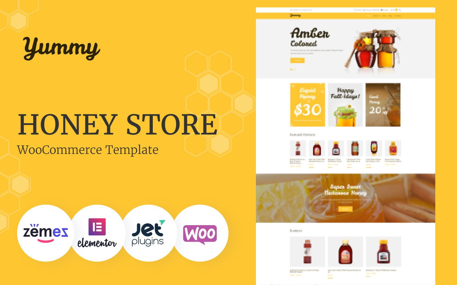 Reszponzív Yummy - Honey Store WooCommerce sablon 64503