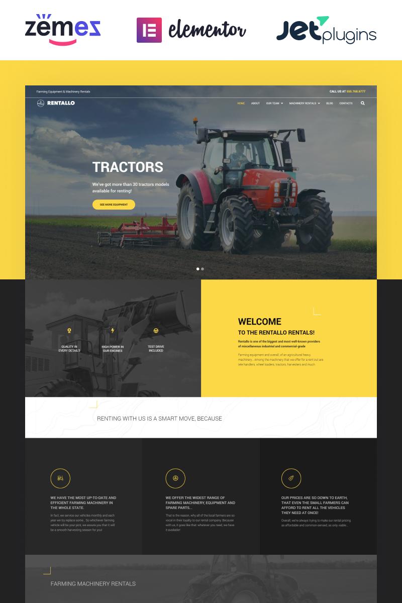 "Tema De WordPress ""Rentallo - Farming Equipment & Machinery Rentals"" #64595"