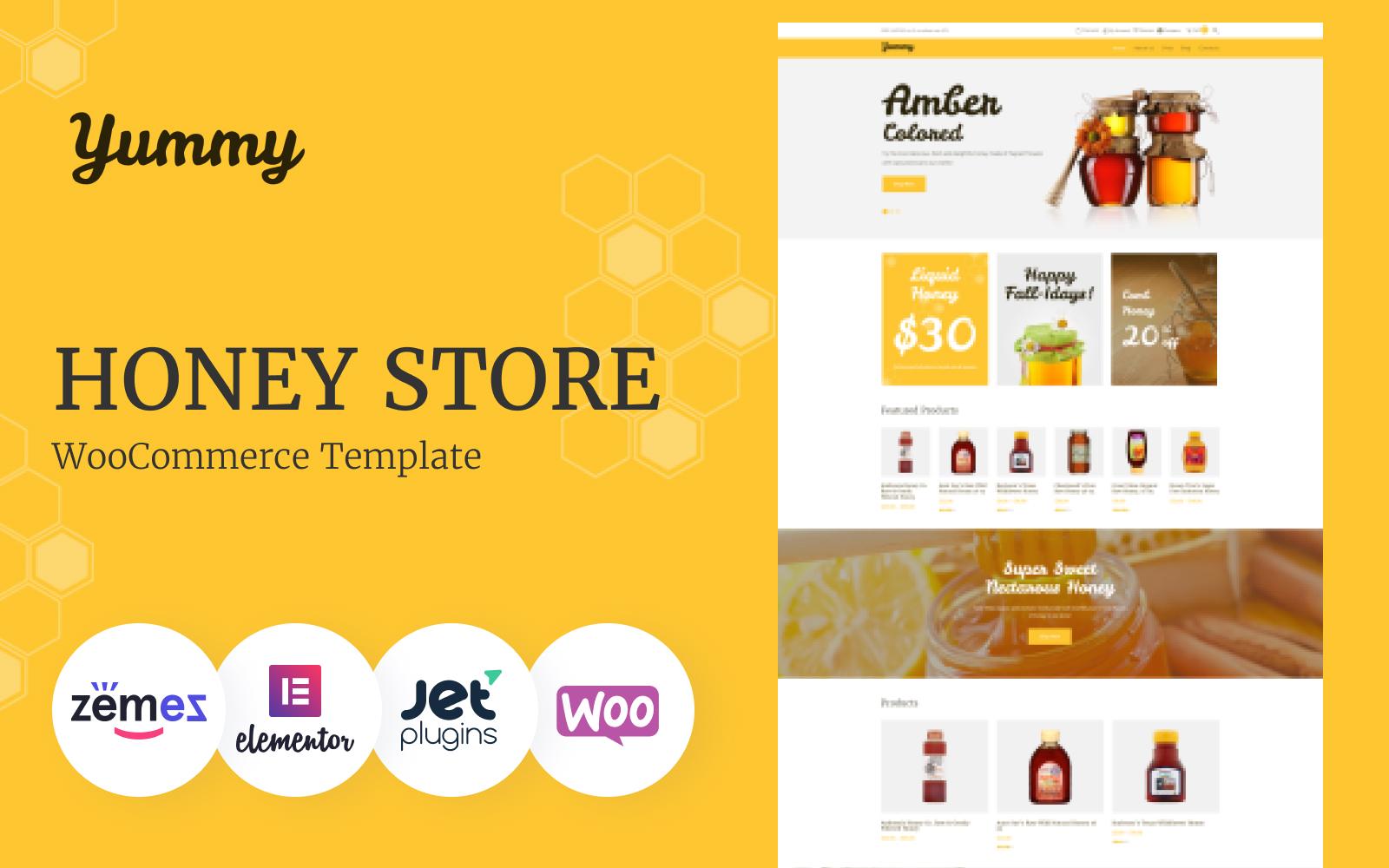"""""""Yummy - Honey Store"""" - адаптивний WooCommerce шаблон №64503"""