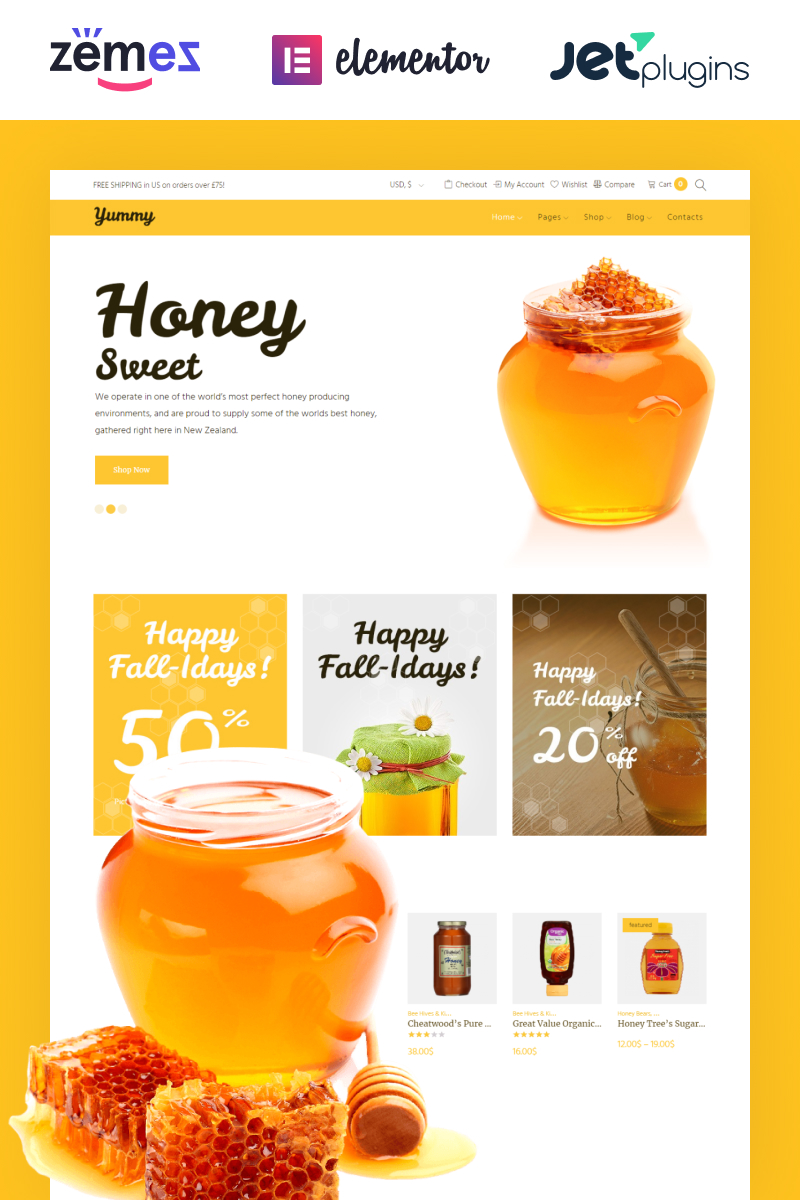 """Yummy - Honey Store WooCommerce Theme"" 响应式WooCommerce模板 #64503"