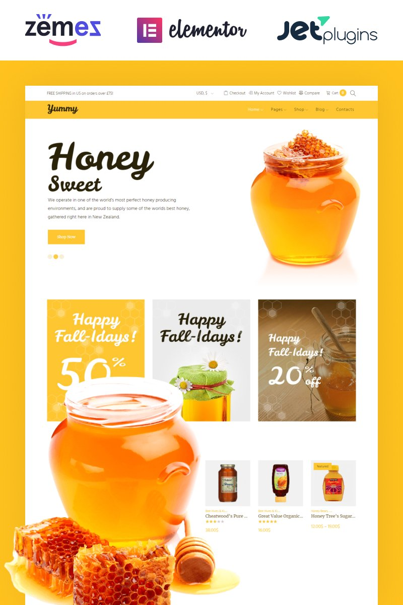 Yummy - Honey Store WooCommerce Theme
