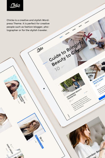 Website Design Template 64632 - style journal clean creative blogger social gallery travel photographer instagram grid