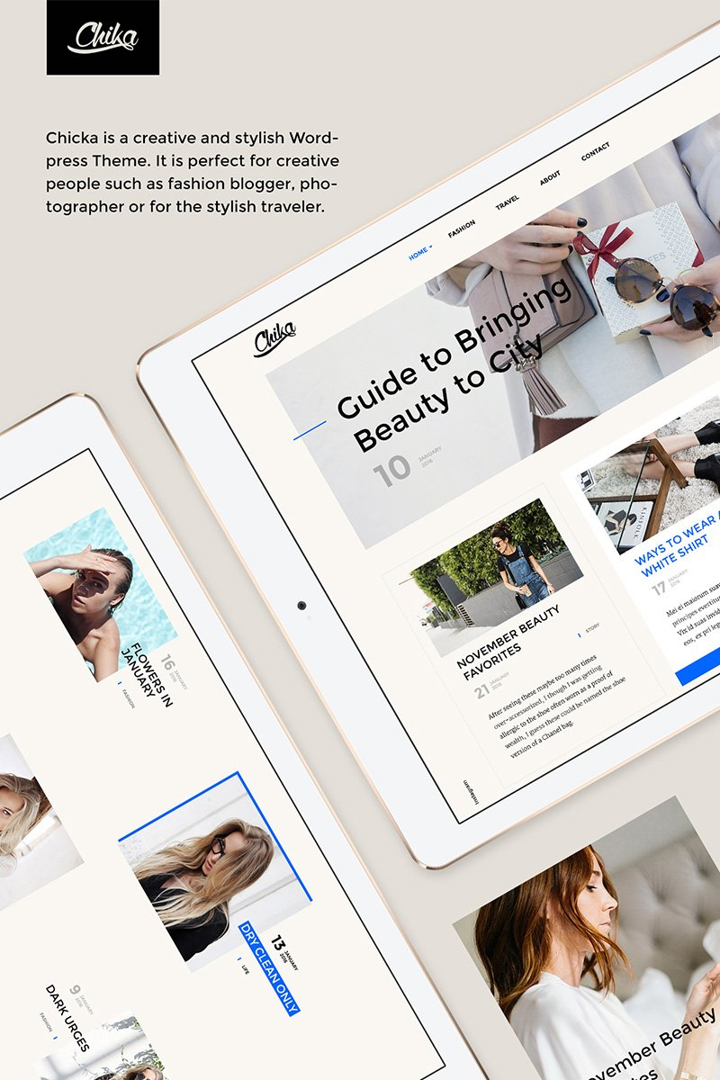 Website Design Template 64632 - fathion beauty style journal clean creative blogger social gallery travel photographer instagram grid