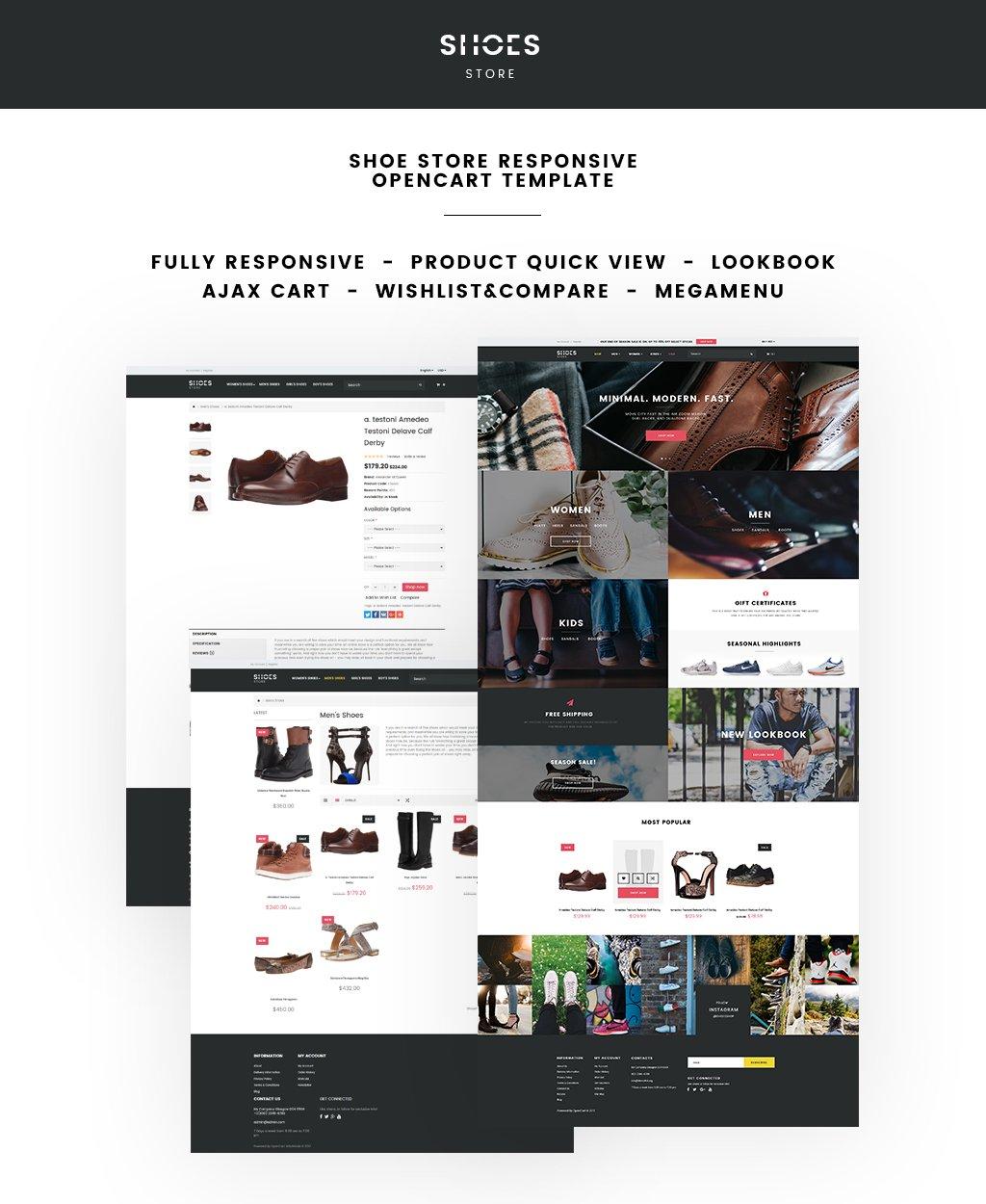 Адаптивный OpenCart шаблон №64640 на тему магазин обуви