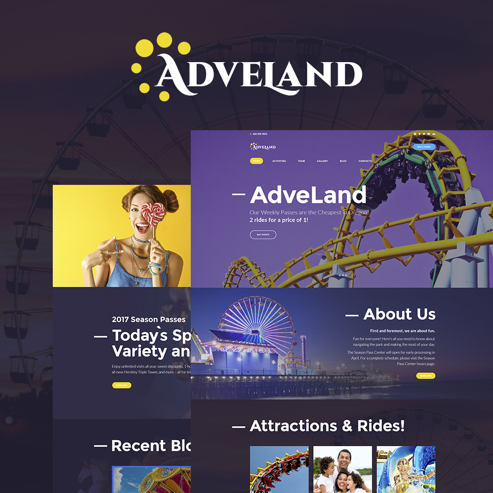 """Adveland - Amusement Park Responsive"" - адаптивний WordPress шаблон №64616"