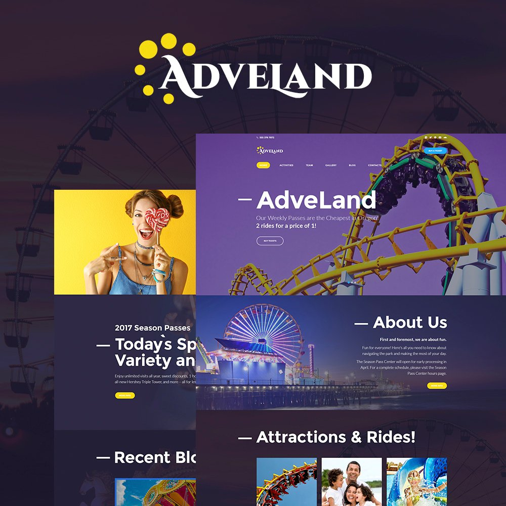 """Adveland - Amusement Park Responsive"" Responsive WordPress thema №64616 - screenshot"