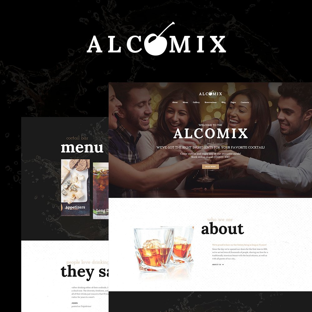 """Alcomix - Cocktail Bar"" Responsive WordPress thema №64641"