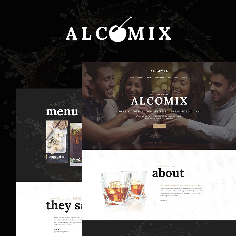 """Alcomix - Cocktail Bar"" 响应式WordPress模板 #64641"
