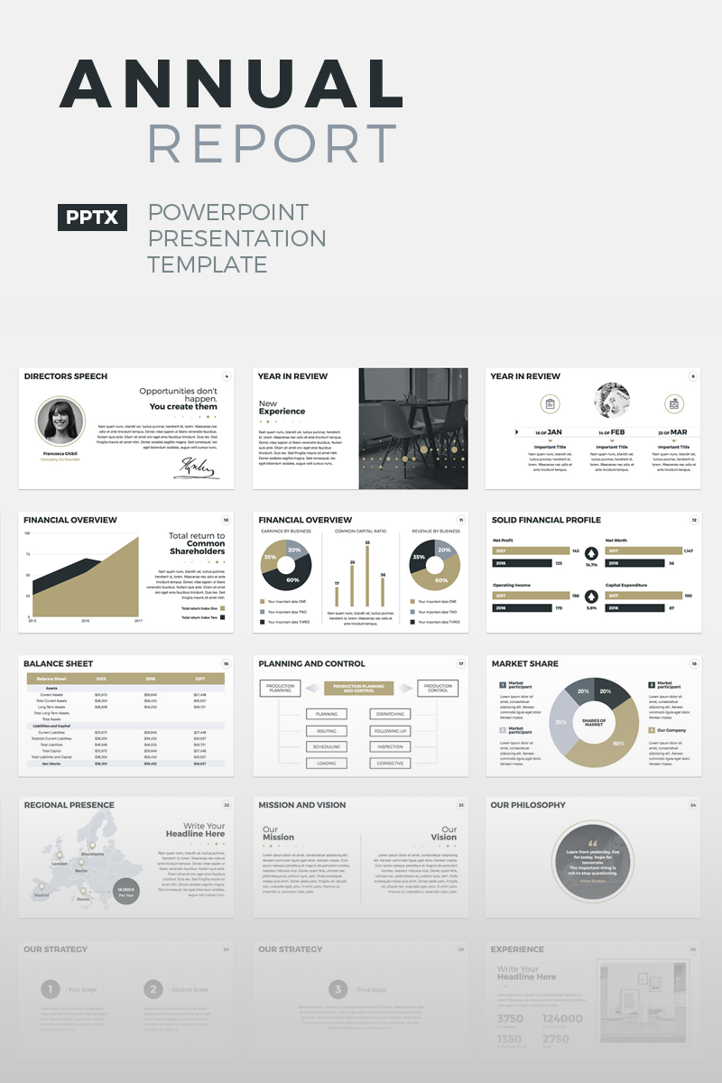 Annual Report PowerPoint sablon 64679