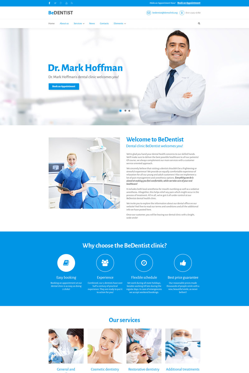 """BeDentist - Dentist & Medical Premium"" Drupal模板 #64649"