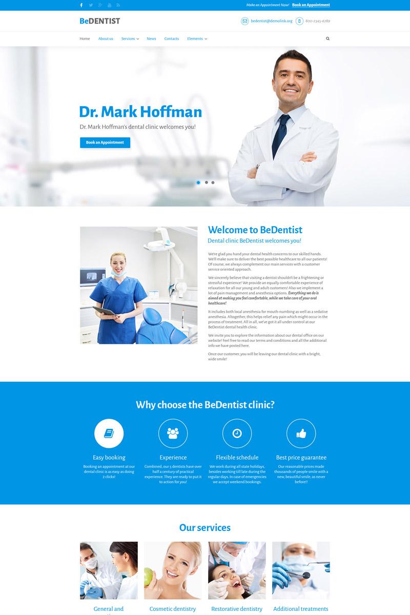 """""""BeDentist - Dentist & Medical Premium"""" Drupal Template №64649"""